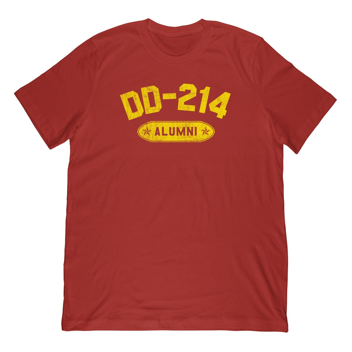 DD-214 Alumni In Yellow & Distressed (Stamp Look) T-Shirt