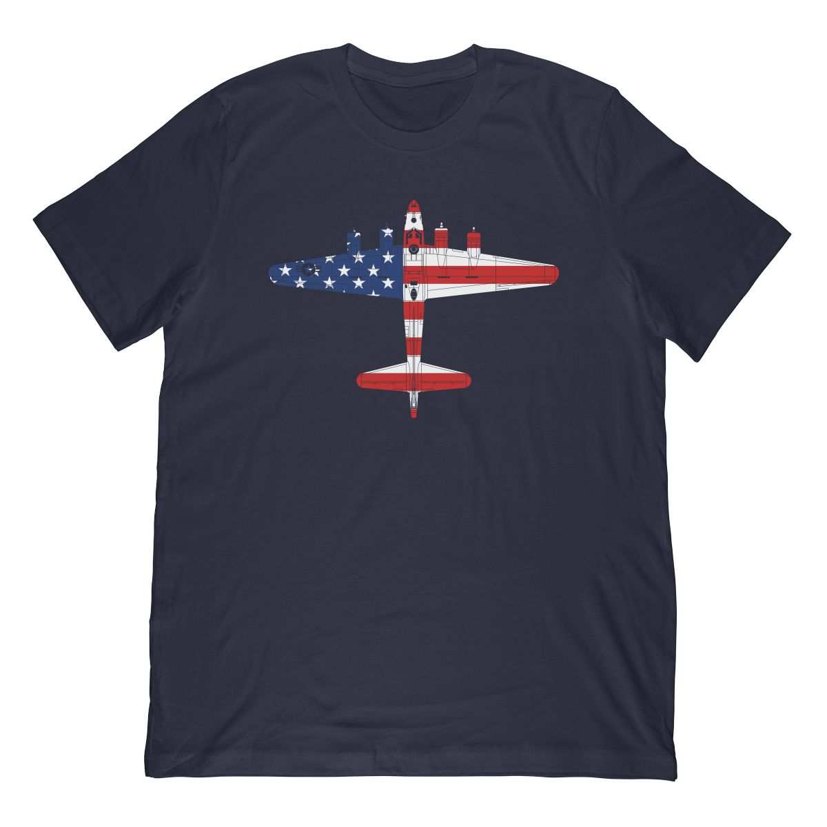 WW2 B-17 Flying Fortress Airplane In The American Flag